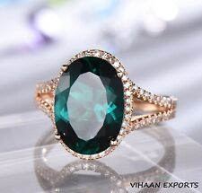 925 Sterling Silver Emerald Oval Cut American Band Halo Rose Gold Plating Ring