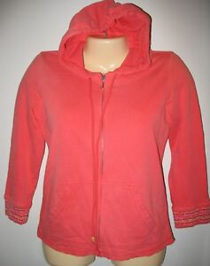 JUICY COUTURE - SIZE: SMALL - ORANGE ZIPPER FRONT HOODIE-MADE IN U.S.A.