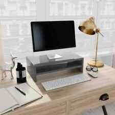 vidaXL Monitor Stand with a Storage Shelf High Gloss Grey Chipboard Computer