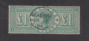 QUEEN VICTORIA USED £1 GREEN POSTMARK 1894