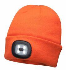 Portwest LED Head Light Orange Beanie 150 Lumens Hat USB Charge Torch