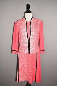 MING WANG NEW $550 2 Piece Knit Tank Dress & Cropped Jacket Pink White XS