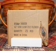 3 Watt 3W Flicker Flame Light Tip Bulbs E12 C7 Candelabra Base ~ Set / Lot of 25