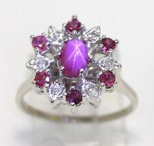 Diamond star ruby ring 14K white gold round brilliant 1.50C oval center 2.50CTW!
