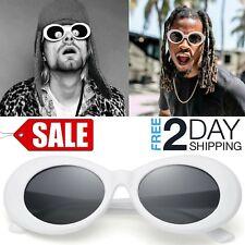White Clout Goggles Glasses Kurt Cobain Rapper Hypebeast Cool Oval Sunglasses