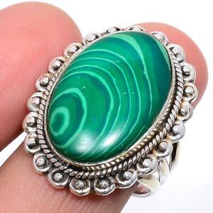 Malachite Gemstone 925 Silver Handmade Jewelry Ring s.9 M2254