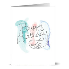 24 Note Cards - Watercolor Cool Tones Happy Birthday - Kraft Envs