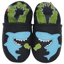 carozoo shark black 12-18m soft sole leather baby boys shoes