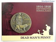 DEAD MANS PENNY 1914-1918 MEMORIAL 60mm First World War Medallion on Card
