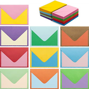 100 Mini Envelopes 4 x 2.75In 10 Colors with Cards Bright Color Greeting Blank