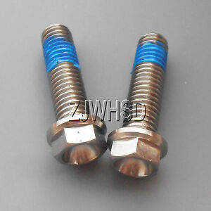 2pcs M8 x 30 mm Titanium Ti Screw Bolt Hexagon Hex Head Flange + Thread Loker