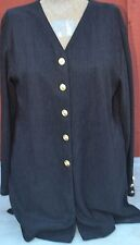 Women's Orare Size Large Long Sleeve Black Button Down w/ Gold Buttons EUC Top