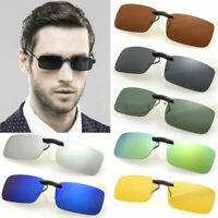 UV400 Sunglasses Polarized Clip On Flip up Driving Glasses Day&Night Vision Lens