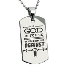 Stainless Steel If God is for Us Romans 8:31 Mens Dog Tag Necklace or Keychain