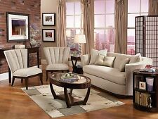 BOULE - Art Deco Living Room Modern Tan Chenille Sofa Couch & 2 Chairs Set NEW