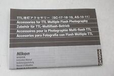 Nikon TTL Accessories SC-17/18/19+AS-10/11 Instruction Sheet+English/J/G/F/C/S+