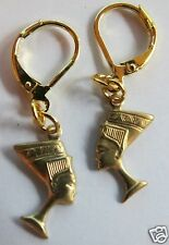 EGYPTIAN STYLE NEFERTITI  RAW BRASS DETAILED HANDMADE EARRINGS FOR PIERCED EARS
