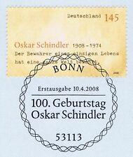BRD 2008: Oskar Schindler Nr. 2660 mit Bonner Ersttagssonderstempel! 1A! 1806