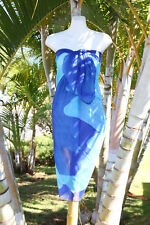 Sheer Sarong BLUE DAISY Beach Coverup Hawaii Cruise Pareo Shawl Wrap Skirt Dress