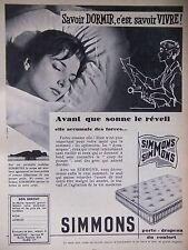 PUBLICITÉ 1956 MATELAS SIMMONS SAVOIR DORMIR C'EST SAVOIR VIVRE - ADVERTISING