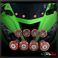 Strada 7 Racing Windscreen Bolts M5 Wellnuts Set Kawasaki ZG1000 CONCOURS Red