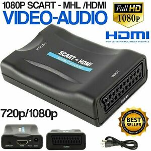 SCART To HDMI Composite 1080P Video Scaler Converter Audio Adapter For DVD TV UK