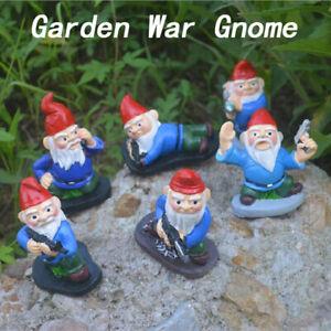 Garden Army Gnome Ornament Funny Sculpture  Cartoon War Dwarf Statue Home Decor