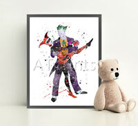 THE JOKER MARVEL Print Poster Disney Watercolour Framed Canvas Wall Art Nursery