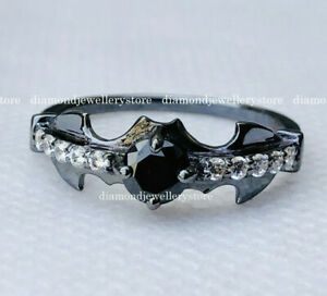Batman Inspired Black & White Diamond Hollywood Theme Engagement Ring 925 Silver