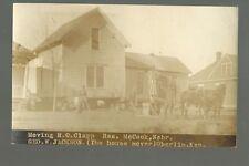 McCook NEBRASKA RP c1910 HOUSE MOVER George Jackson ADVERTISING Oberlin Kansas