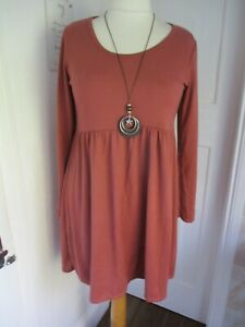 SUGAR CRISP Rust Fine Knit Stretch Tunic Top or Dress & Necklace One Size 12-16