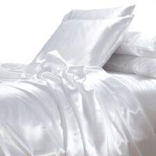 NEW White Satin Sheet Set Queen Size Silk Feel Romantic Wedding Luxury Bedding