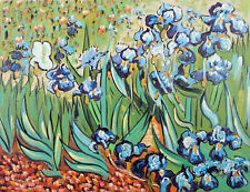 Blue Iris Van Gogh Repro Hand Painted 12X16 Oil On Canvas Painting  STRETCHED