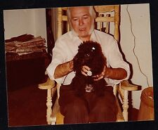 Vintage Photograph Man Holding Adorable Black Poodle Puppy Dog