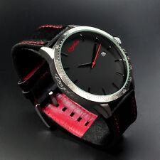 XXL Psychoo Herren Armbanduhr Schwarz Silber Datumsanzeige Elegant Sportlich