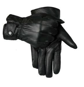 Hombre Pantalla Táctil 100%Guantes de Cuero Forro Térmico Negro Driving Invierno