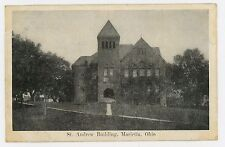 Postcard 1910 Ohio Marietta St. Andrew Building Posted Belpre Pub. JG McCrorey