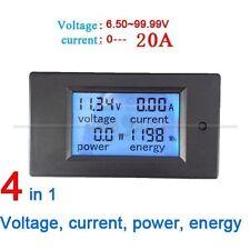 20A DC Digital LCD Power Panel Meter Monitor Power Energy Voltmeter Ammeter