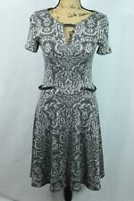 Yoana Baraschi Belted Fit & Flare Size 6 Damask Floral Back Zip Mini Dress Gray