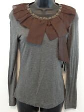 New 2b. Rych Supper Soft Grey Blouse Shirt Top with Jeweled Neck With Tags! $179