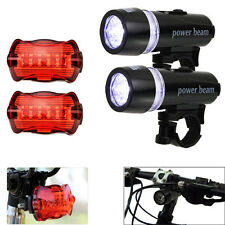 1x 5 LED Lamps Bike Bicycle Front Head Light +Rear Safety Waterproof Flashlights