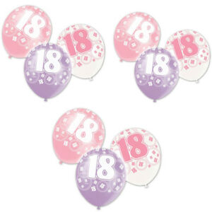 """Age 18th Birthday Balloons, Pack of  6, Size 12"""" Latex Glitz Pink Decoration"""
