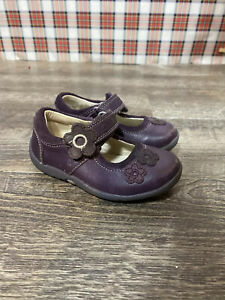 Clarks First Shoes Infant Girls 4.5 Purple Leather Mary Jane