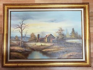 Large Oil Printing On Canvas With Wood Framed,Bennett Signed