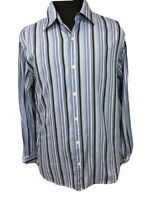 Michael Kors Mens Button Down Front Shirt Multi Color Stripe Blue Sz Large