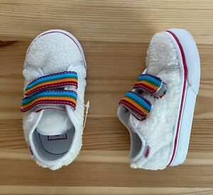 NWOT VANS Shearling Rainbow Straps Sneakers Shoes 5 Toddler