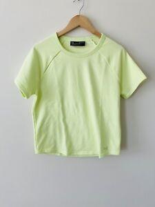 Under Armour Womens Cutout Back Neon Green Short Sleeve Sweatshirt Sz M NWT