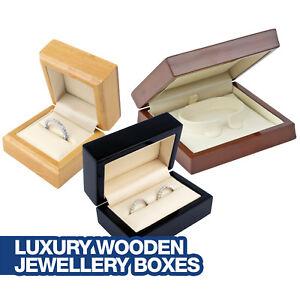 Luxury Wooden Jewellery Boxes - Maple, Black or Mahogany