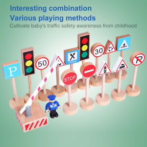 16X Wooden Traffic Signs Playset Street Road Signs Model Educational Toy for Kid
