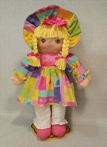 """VTG Sweetie Mine Cloth Doll Blue Eyes Blonde Hair 20"""" Well Made Toy Patchwork"""